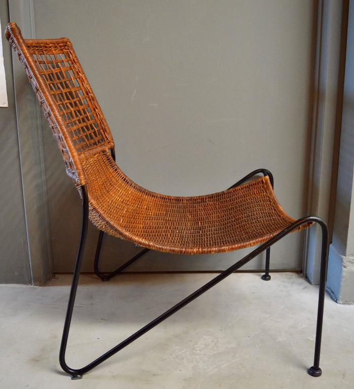 Mid-Century Modern Sculptural Iron and Wicker Chairs in the style of Tempestini For Sale