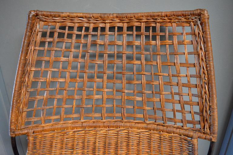 Sculptural Iron and Wicker Chairs in the style of Tempestini For Sale 3