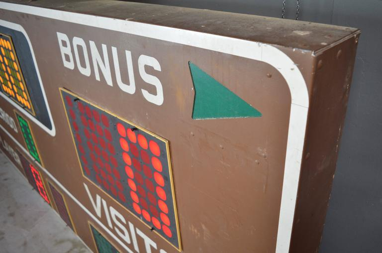Steel Massive Fair Play 1970s Basketball Scoreboard For Sale