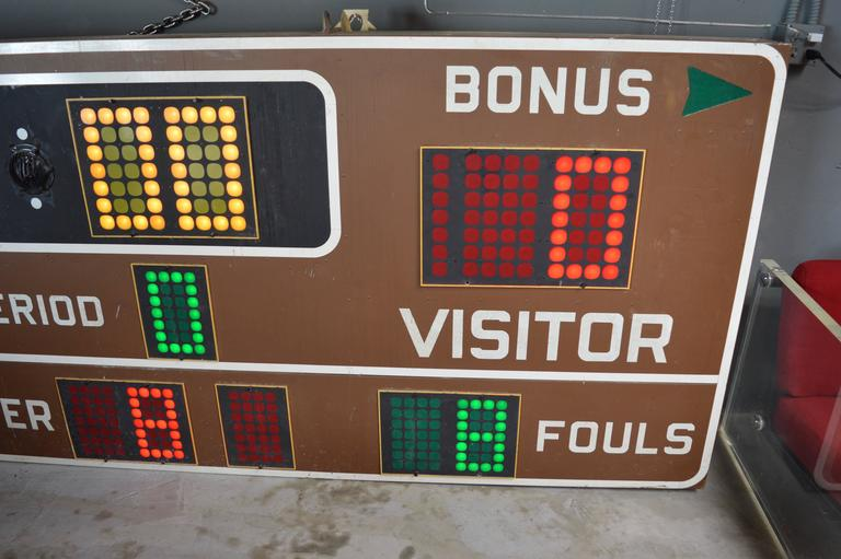 Massive Fair Play 1970s Basketball Scoreboard In Excellent Condition For Sale In Los Angeles, CA