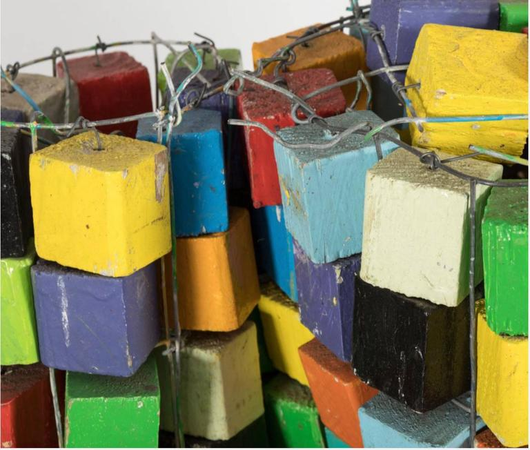 Unknown Life-Sized Wooden Cube Sculpture For Sale