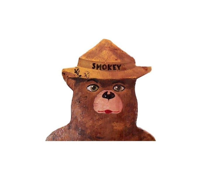 Hand-Painted Wooden Life-Sized Smokey the Bear In Excellent Condition For Sale In Los Angeles, CA