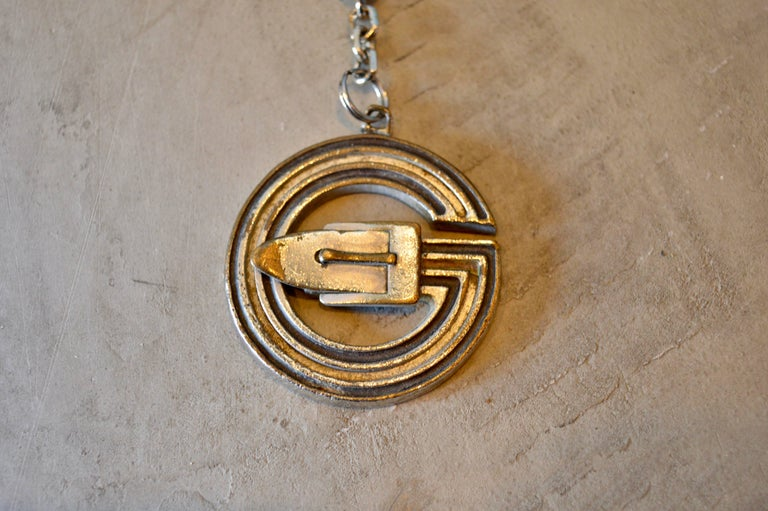 2fb790f7107 Cool vintage Gucci metal keychain. Great patina with large G - logo and belt  buckle