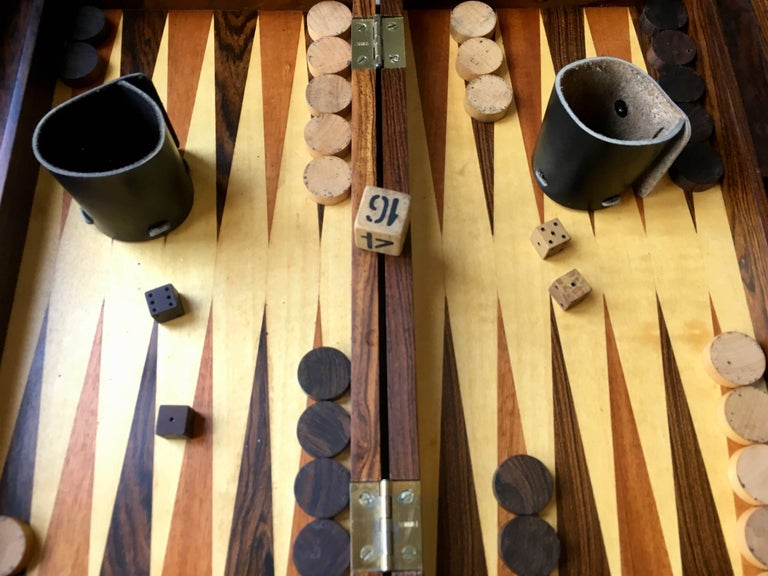 Rosewood Backgammon Board In Excellent Condition For Sale In Los Angeles, CA