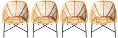 Set of 4 Vintage French Wicker and Rattan Chairs