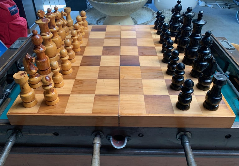 American Oversized Wood Chess Set For Sale