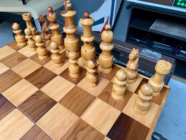 Oversized Wood Chess Set In Good Condition For Sale In Los Angeles, CA