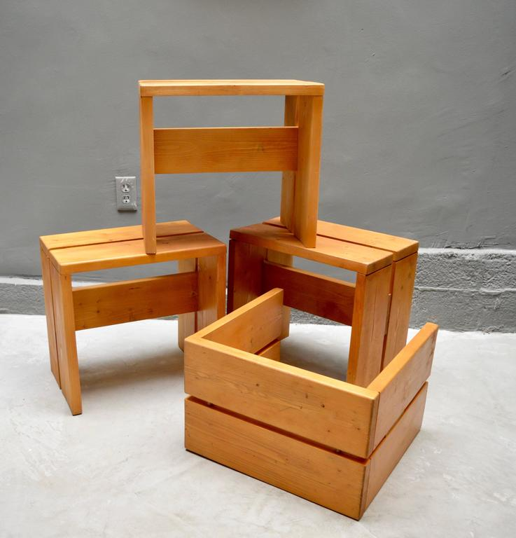 Charlotte Perriand Pine Stools for Les Arcs In Excellent Condition For Sale In Los Angeles, CA