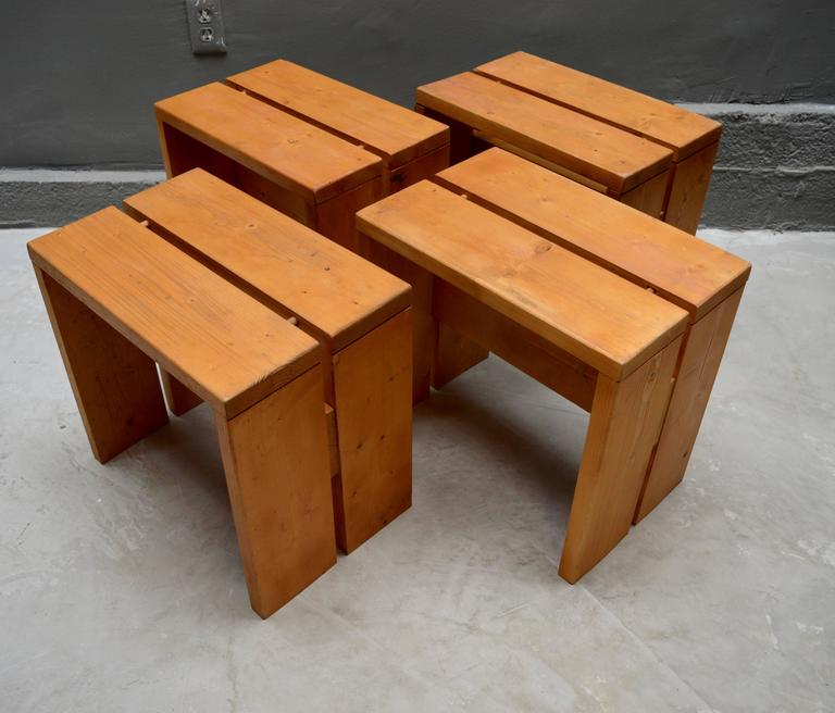 Mid-20th Century Charlotte Perriand Pine Stools for Les Arcs For Sale