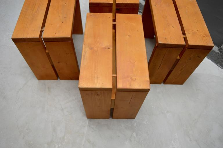 Charlotte Perriand Pine Stools for Les Arcs For Sale 2