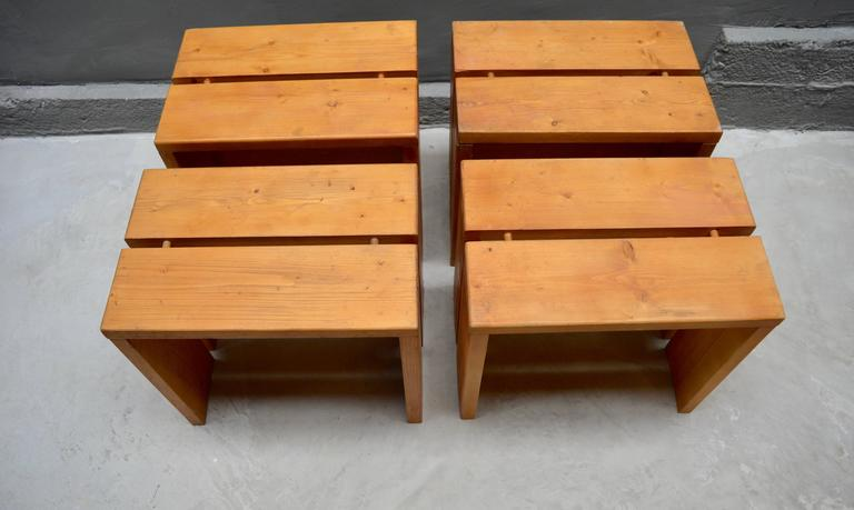 Charlotte Perriand Pine Stools for Les Arcs For Sale 3