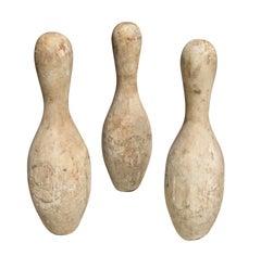 Set of Wood Bowling Pins