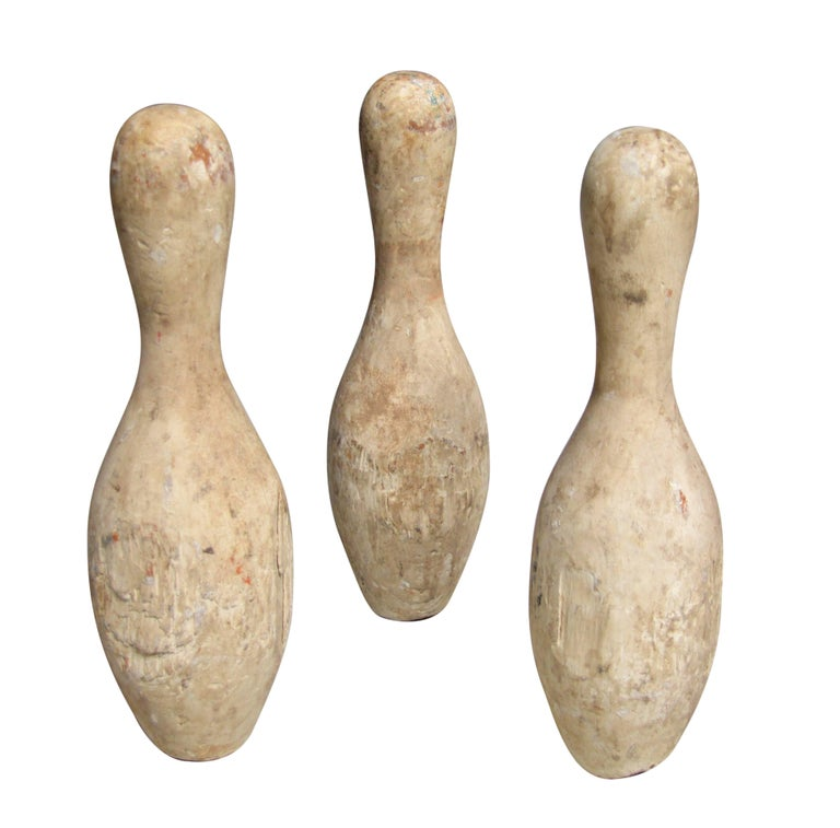 Set of Wood Bowling Pins For Sale