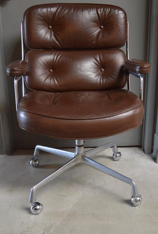 Great vintage leather office chair from the Time Life building in New York.  Dated Feb - Set Of Four Vintage Brown Leather Eames Time Life Chairs For Sale At
