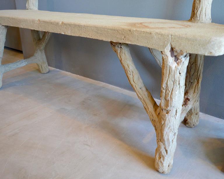 American Concrete Folk Art Bench For Sale