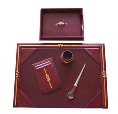 Gucci Desk Set in Leather and Brass