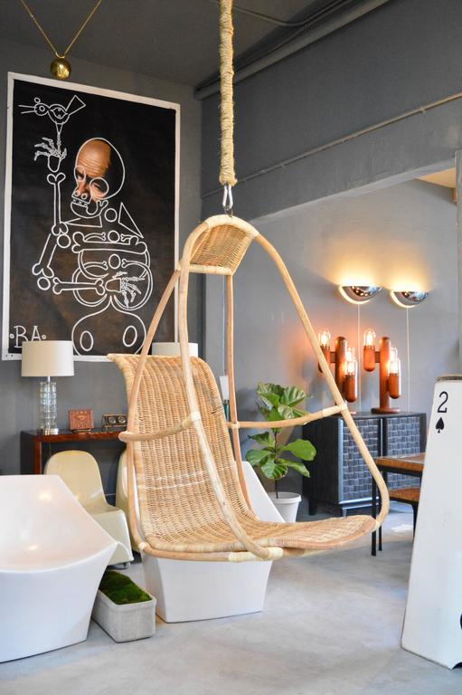 Great Sculptural French Bamboo And Rattan Hanging Chair Frame With Seat Full