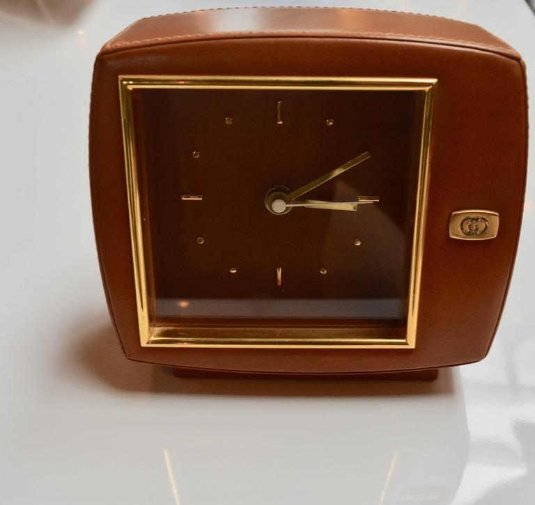 Italian Gucci Leather and Brass Desk Clock For Sale