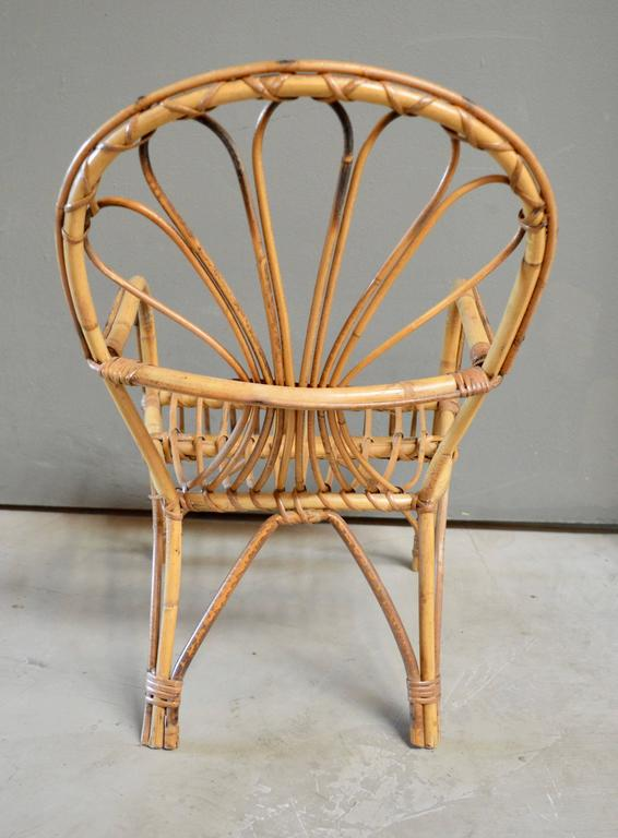 French Sculptural Rattan and Bamboo Children's Chair In Excellent Condition For Sale In Los Angeles, CA
