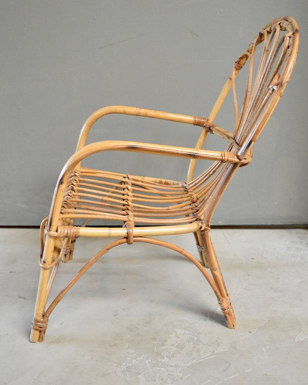 Late 20th Century French Sculptural Rattan and Bamboo Children's Chair For Sale