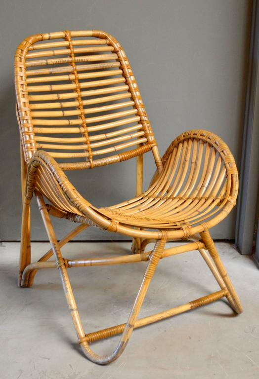 French Bamboo And Rattan Chair In Excellent Condition For Los Angeles Ca