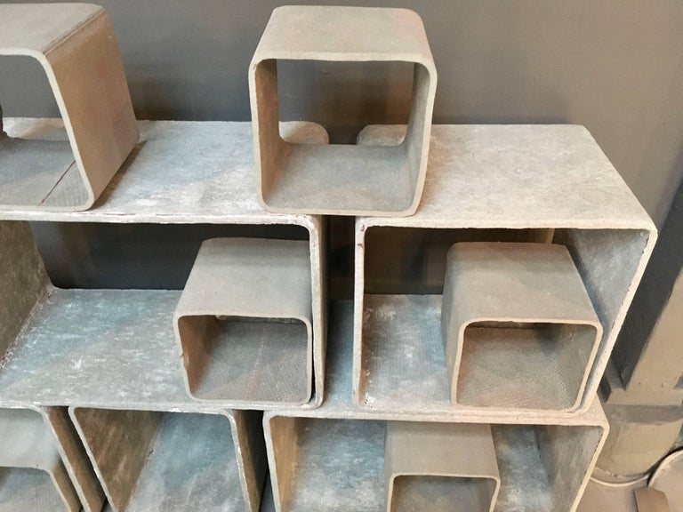 12 Piece Willy Guhl Modular Cement Bookcase 3
