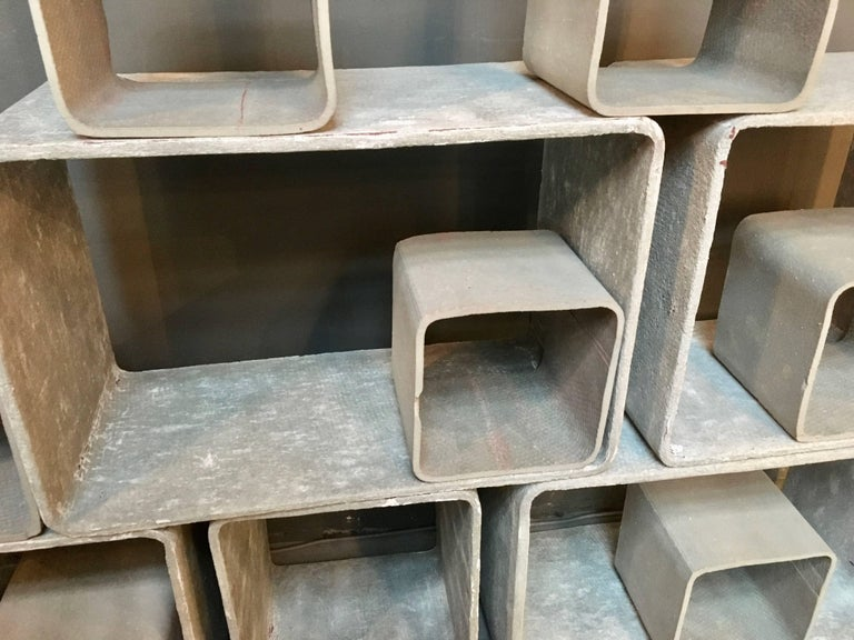 12 Piece Willy Guhl Modular Cement Bookcase 7