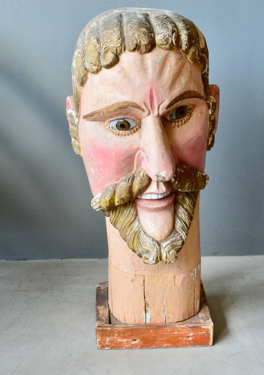 Fantastic wood sculptural Santo with glass eyes. Massive size. Great original paint and patina. Head is over two feet tall!
