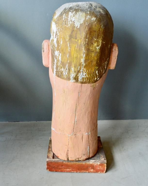Monumental Wood Santo Head For Sale 1