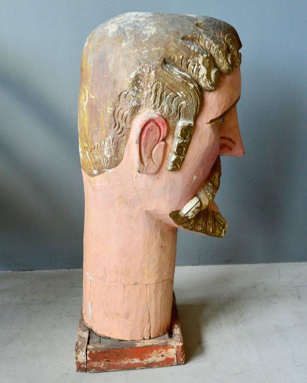 Mid-20th Century Monumental Wood Santo Head For Sale