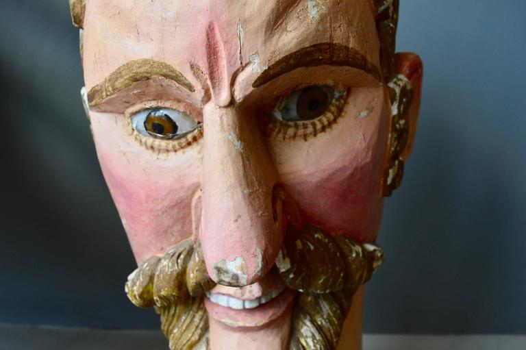 French Monumental Wood Santo Head For Sale