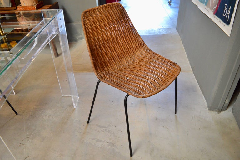 Italian Wicker and Iron Chairs by Campo and Graffi In Excellent Condition For Sale In Los Angeles, CA