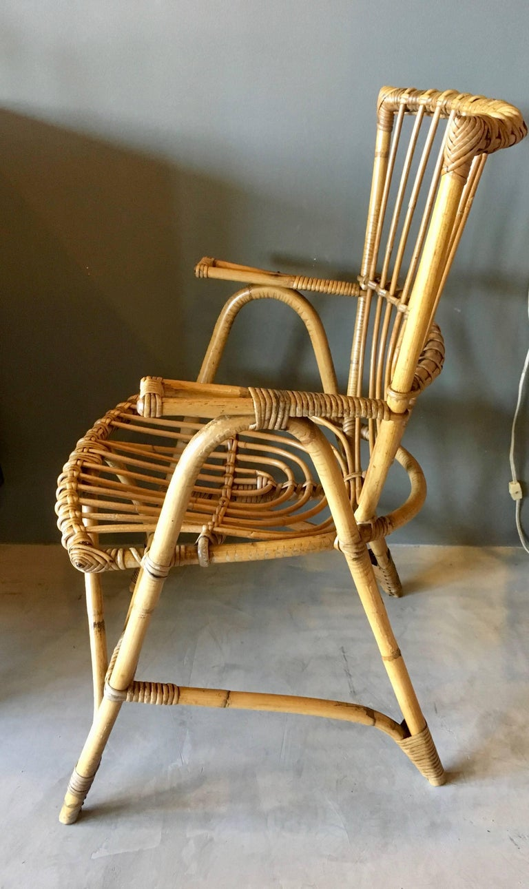 Pair of Sculptural French Rattan Armchairs In Excellent Condition For Sale In Los Angeles, CA