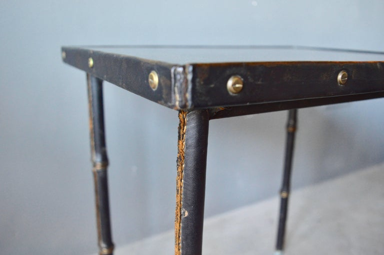 French Jacques Adnet Leather Side Table For Sale