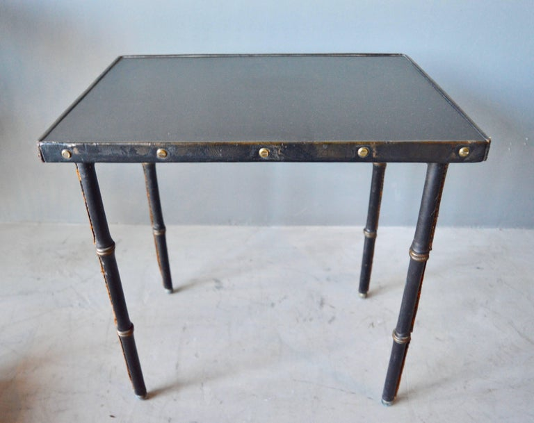 Jacques Adnet Leather Side Table In Excellent Condition For Sale In Los Angeles, CA