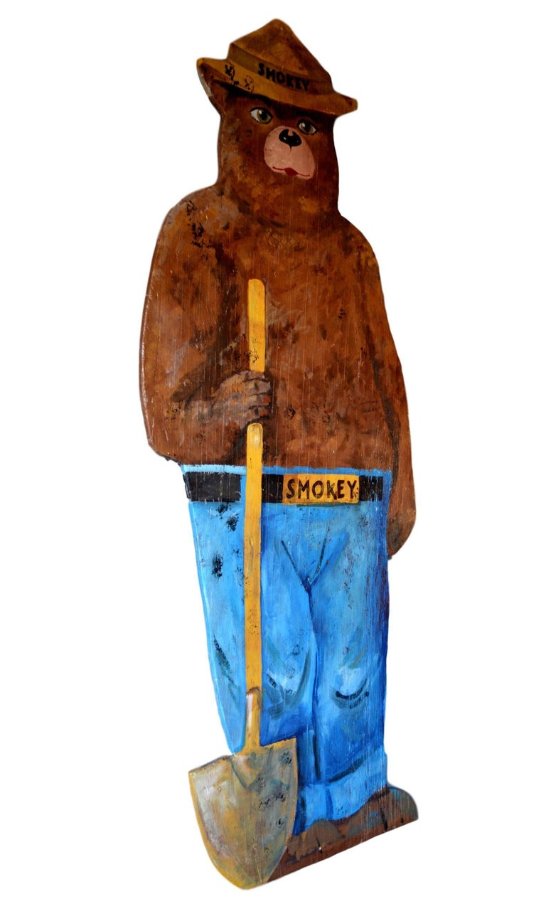 Hand-Painted Wooden Life-Sized Smokey the Bear For Sale 1