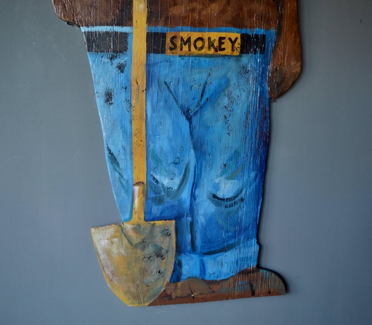 American Hand-Painted Wooden Life-Sized Smokey the Bear For Sale