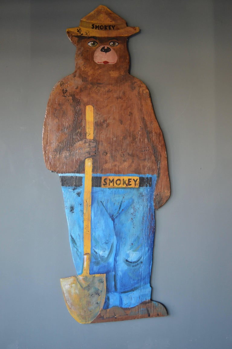 6 foot tall Smokey the Bear. Hand-painted wooden sign from the United States Parks and Wildlife. Great piece of Americana. Very rare. Excellent vintage condition and great coloring.