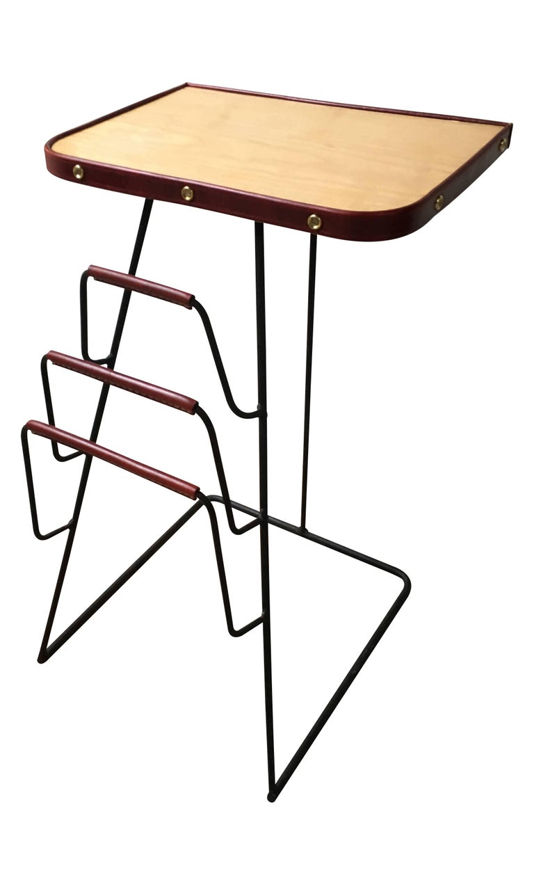 French Jacques Adnet Red Leather and Brass Side Table with Magazine Rack For Sale