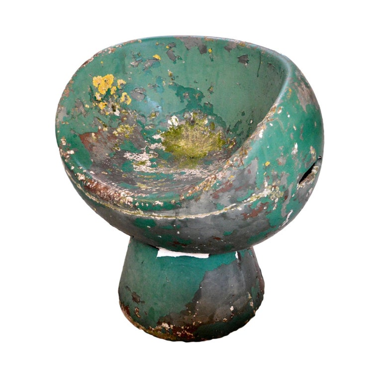 Rare Green Willy Guhl Concrete Mushroom Chair For Sale
