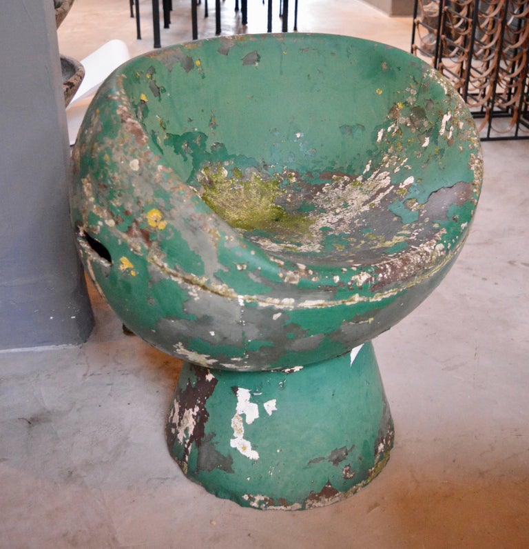 Mid-20th Century Rare Green Willy Guhl Concrete Mushroom Chair For Sale