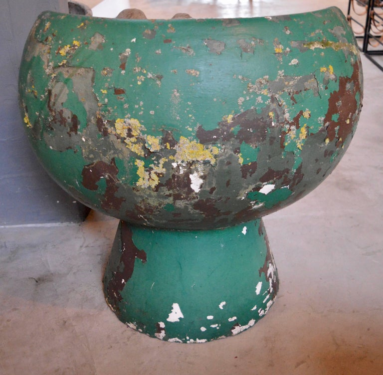 Rare Green Willy Guhl Concrete Mushroom Chair In Excellent Condition For Sale In Los Angeles, CA