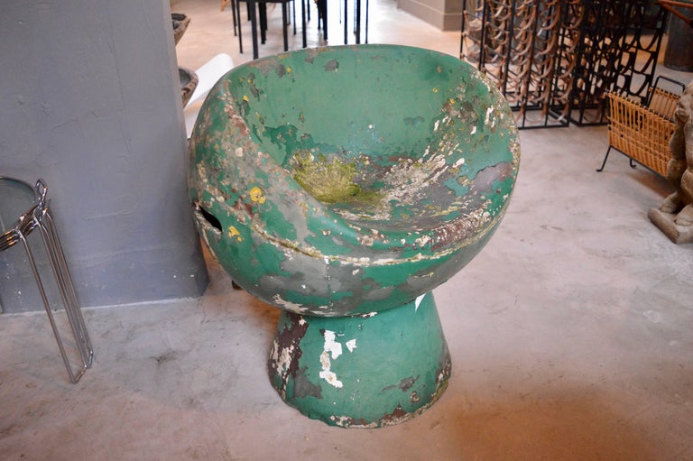 Swiss Rare Green Willy Guhl Concrete Mushroom Chair For Sale