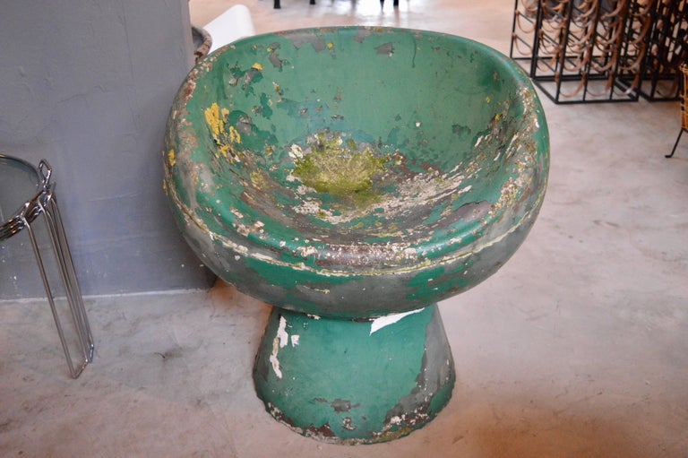 Stunning green concrete mushroom chair by Swiss Architect Willy Guhl.  60 plus years of patina. Made for Eternit in the 1960s. Amazing patina and condition. Perfect indoors or outside!    Over a 150 Willy Guhl pieces available in our other listings.