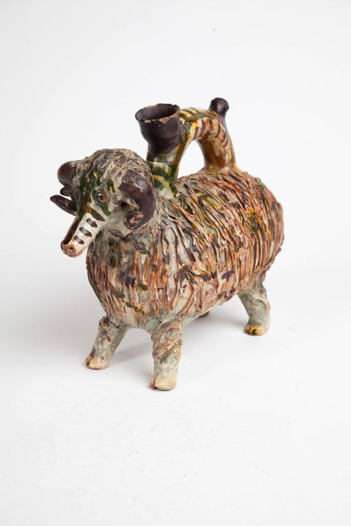 Very charming hand-painted pottery creamer in the shape of a ram.  19th Century, Transylvania.