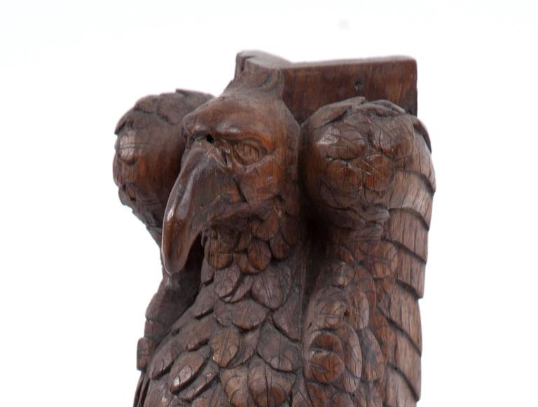 Very handsome and masculine antique carved eagle fragment. The back is at a right angle. It would have attached at a corner.