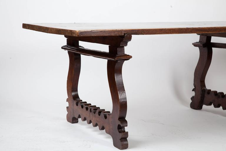 Antique Italian Lyre Leg Table In Distressed Condition For Sale In Scottsdale, AZ