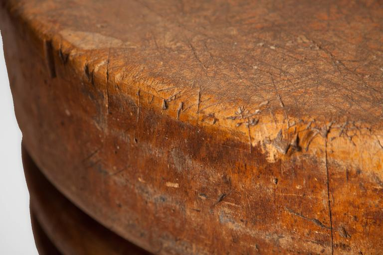 American Antique Round Butcher's Block For Sale