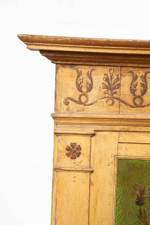 French Large Painted and Carved Trumeau Mirror For Sale