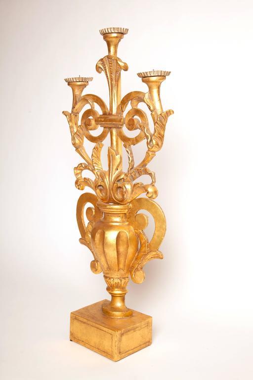 19th century Italian antique Italian gilt three candelabra.